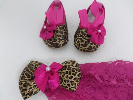 Sapatilha De Bebê Modelo Bailarina Com Faixa Pink