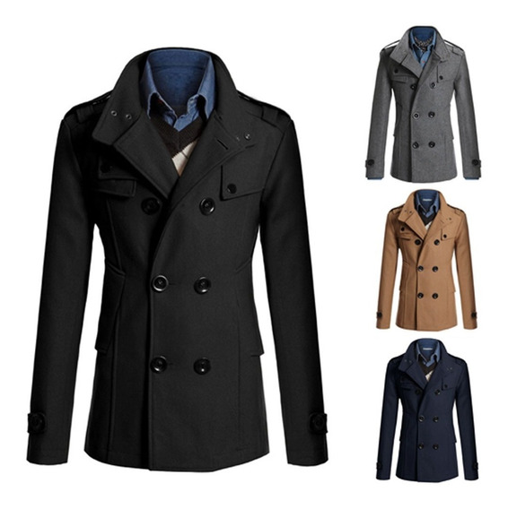 Jaqueta Homens Lã Trench Inverno Longo Duplo Breasted