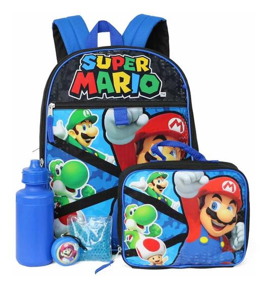 Mochila Set De 5 Piezas Súper Mario De Nintendo