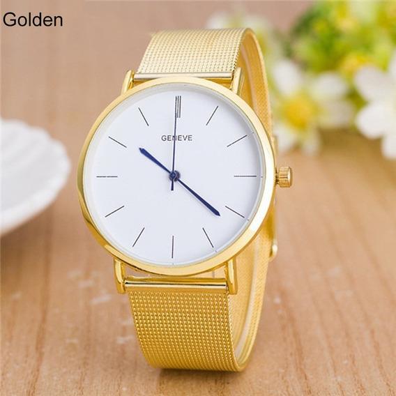 Relógio Pulso Geneve Dourado Pulseira Malha Fundo Branco R34