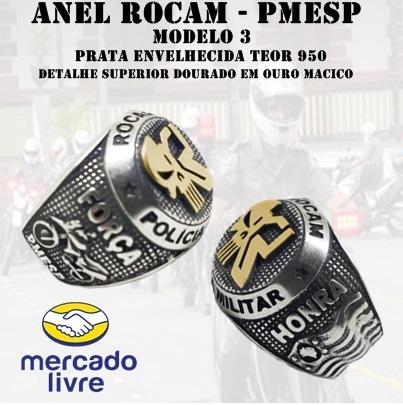 Anel Rocam - Pmesp - Modelo 3 - Prata Com Ouro Maciço