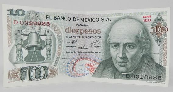 Billete $10 Diez Pesos Hidalgo 15 Mayo 1975