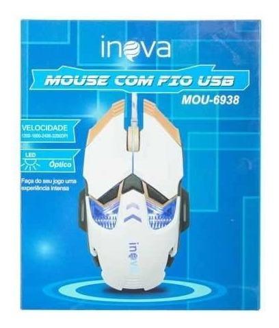 Mouse Gamer C/ Fio 4 Velocidades Led Óptico Usb Alta Sensibilidade 8 Botões