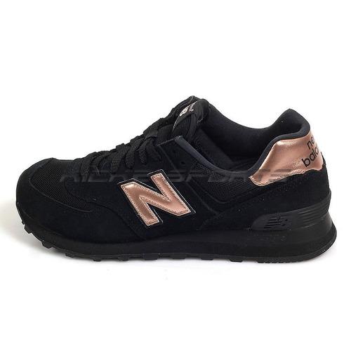 Tenis Zapatillas New Balance 574 Negra Dorada Mujer