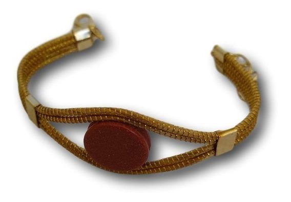 Pulseira De Capim Dourado Com Pedra Ref: 6118