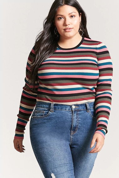 Sweater Remera A Rayas Forever 21 Plus Talle X2 - 7396