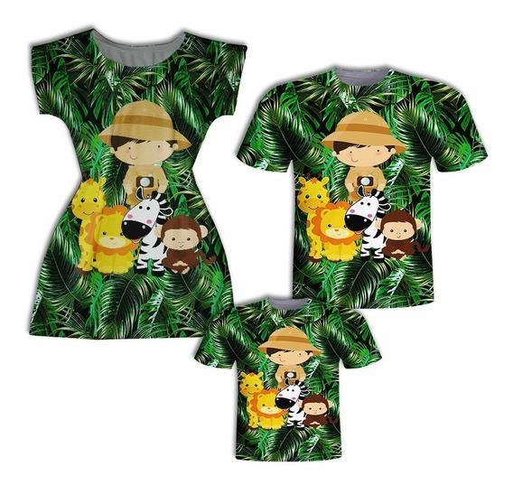 Camisas Pai E Filho + Vestido Mãe - Animaizinhos Safá