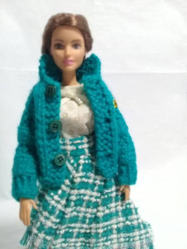 Imagen 1 de 6 de Conjunto De Ropa Para Muñeca Barbie, Pollera ,saco Y Blusa.