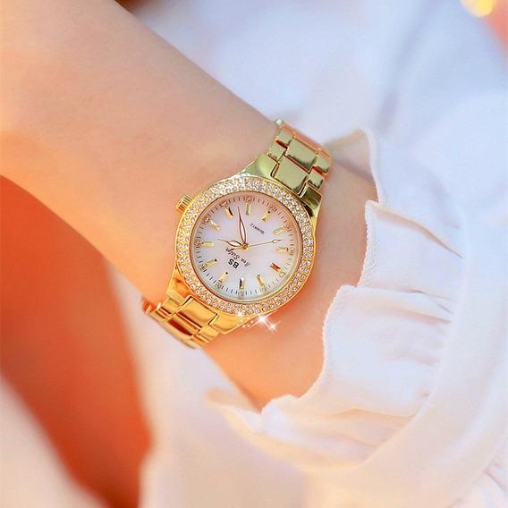 Kit 2 Relógios Feminino Bs Bee Sister Marca De Luxo