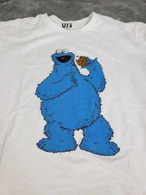 Uniqlo Kaws X Sesame Street Camiseta Cookie Monster White