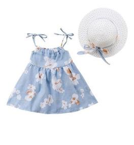 Lindo Kit Verão - Vestido + Chapéu - Azul