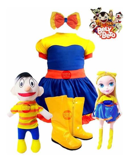 Bely Y Beto Vestido + Botas + Moño + Muñecos