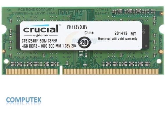Memoria 2gb Ddr3 Crucial Para Laptop 1333 Mhz
