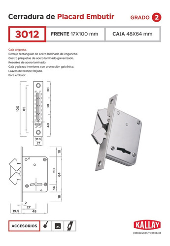 Imagen 1 de 6 de Cerradura De Placard Embutir Kallay 3012