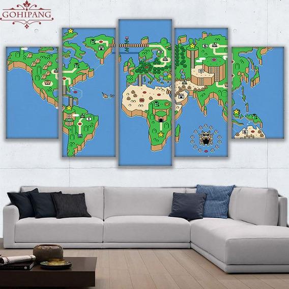 Painel Quadro 5 Partes Mapa Mario World Nintendo 110x55cm