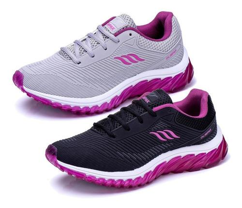 Imagem 1 de 6 de Combo 2 Pares Tênis Feminino Olimpak Para Caminhada Academia