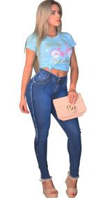 Calça Jeans Cintura Alta Feminina Hot Pants Levanta Bumbum