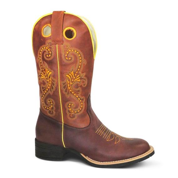 Bota Country Texana Couro Fossil Feminin Silverad Cafe Camel
