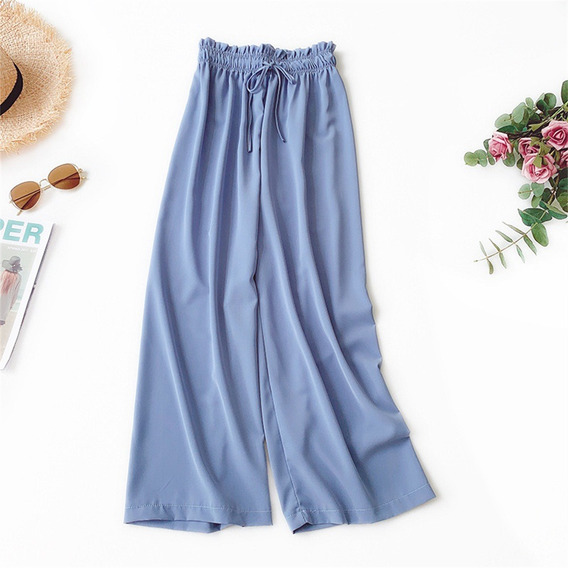 Mulheres Grande Perna Calças Casual Drapeado Tecido De Seda