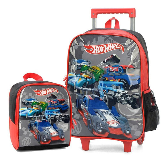 Kit Mochila Escolar Infantil Rodinha E Lancheira Hot Wheels