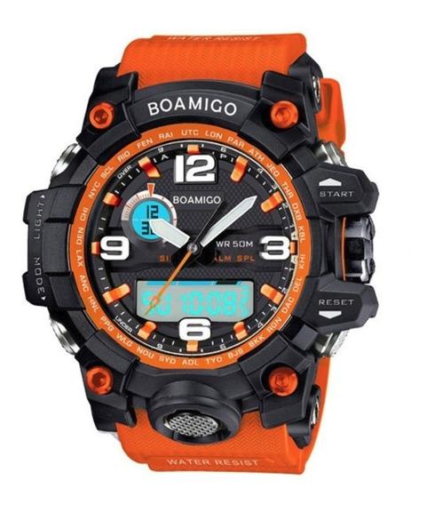 Relógio Masculino Borracha Laranja Militar Aço Inoxidável !!
