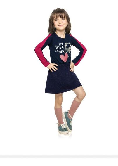 Roupa Infantil Conjunto Blusa Malha E Saia Com Short 251280