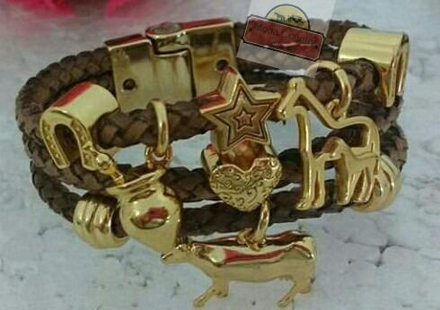 Pulseira Bracelete Country Banhada Couro Legítimo Artesanal