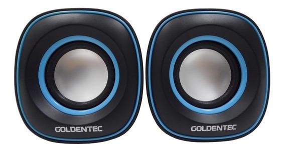 Caixa De Som 6.0w Rms Goldentec Gt Sound 2.0 Preto/azul