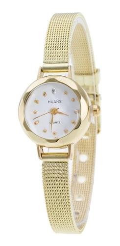 Relógio Feminino Dourado Luxo Fashion Moda Casual