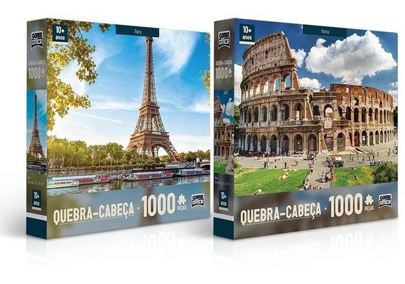 Kit Quebra Cabeça Puzzle 1000 Peças Paris E Roma Toyster
