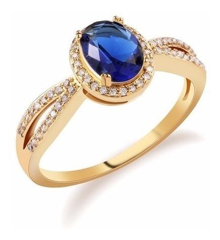 Anel Safira/azul Formatura - Ouro 18k