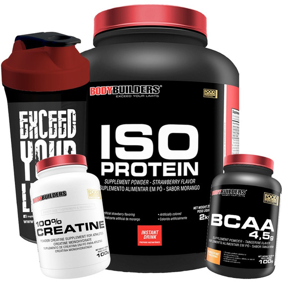 Kit Iso Protein 2kg + Creatina + Bcaa + Copo