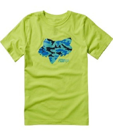 Remera Fox Stenciled Amarillo Fluo Niño Talle M Xl