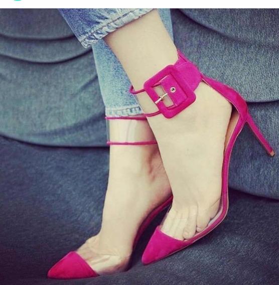 Scarpin Tira Grossa Vinil Transparente Pink, Salto 11 Cm