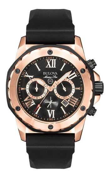Reloj Bulova Marine Star Chrono Hombre 98b104 Negro Oro Rosa