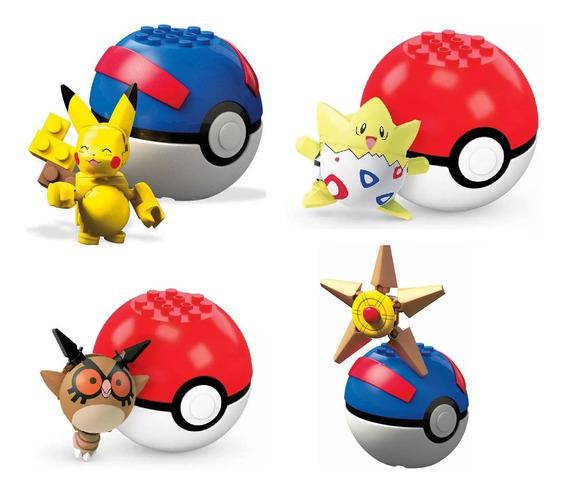 Kit 4 Pokémon Mega Construx Pikachu-togepi-hoothoot-staryu