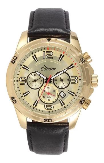 Relógio Masculino Dourado Couro Condor
