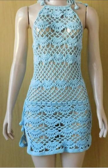 Vestido De Playa Con Tajo A Crochet