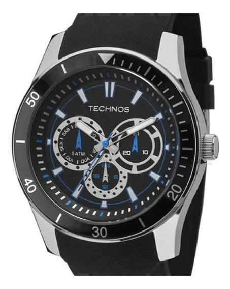 Relógio Technos Racer Prata Azul Pulseira De Silicone Preta
