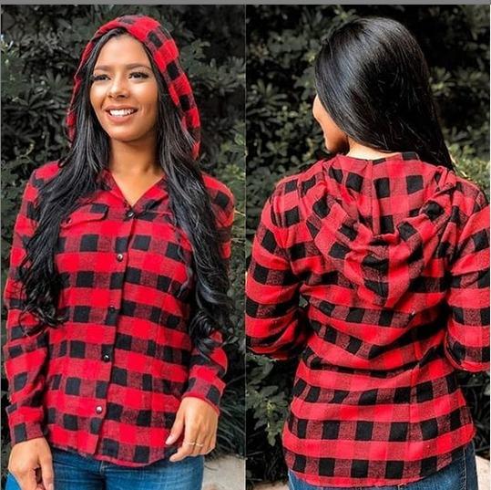 Camisa Blusa Xadrez Feminina Franelada Touca Botoes Inverno
