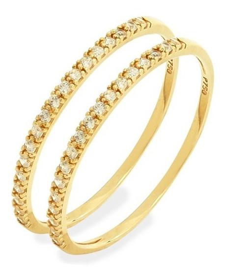 Anel De Ouro 18k Par De Aparador Meia Aliança Com Pedras