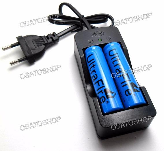 Kit Carregador Duplo + 2 Baterias 18650 6800mah
