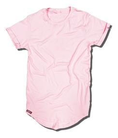 Camiseta Longline Masculina Rosa - Salmão - Bordô