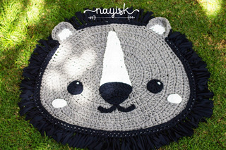 Tapete Trapillo Tejido Hecho A Mano Crochet León Lion 1mt