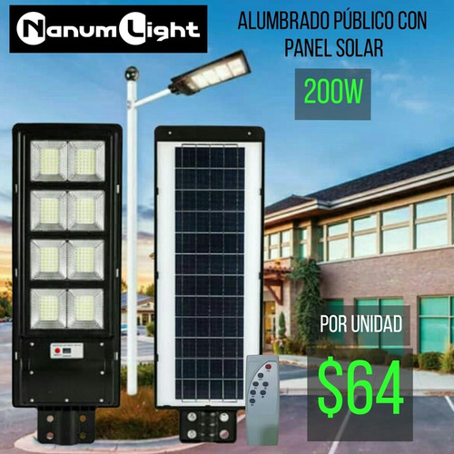 Alumbrado Público Con Panel Solar Integrado 200w