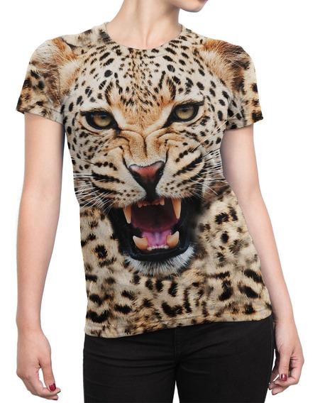 Camiseta Baby Look Feminina Big Face Onça Total Print