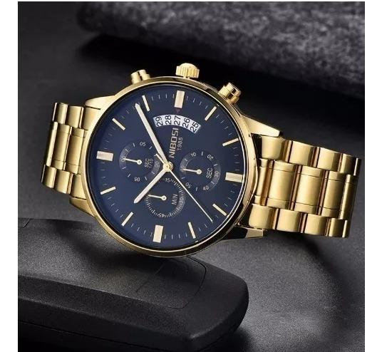 Relógio Nibosi Dourado Luxo Promoção Dia Dos Namorados