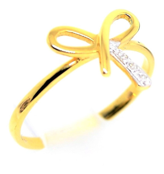 Anel Ouro 18k 750 Laço Diamantes 1,72g