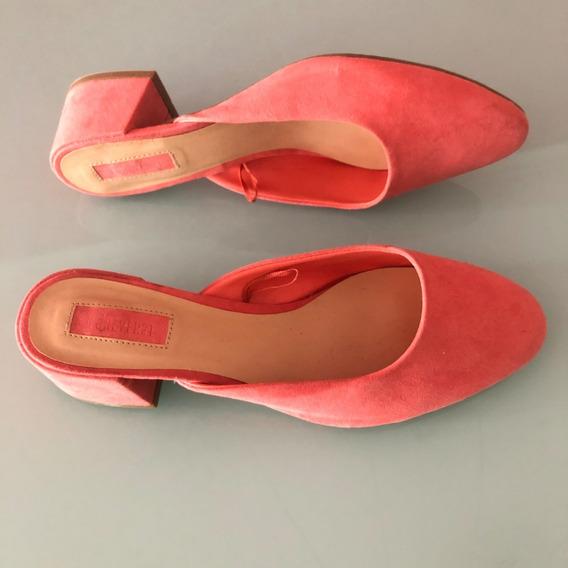 Zapatos Con Taco Rosa Salmon Coral, Talle 40 Forever 21