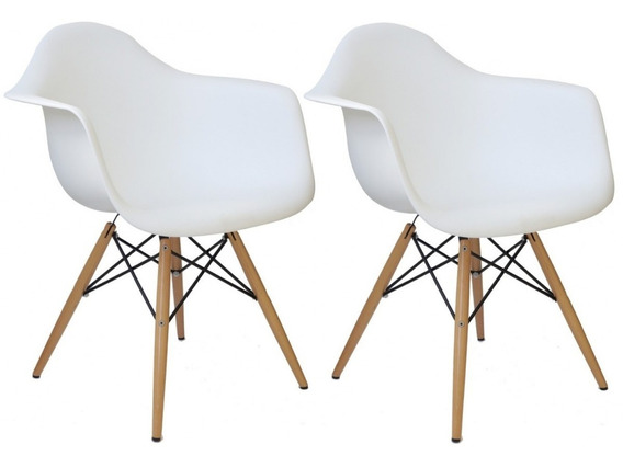 Cadeira Eiffel Charles Eames Wood Com Braços Kit 02pc Design